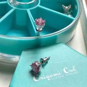 Pink CZ earring silver stud